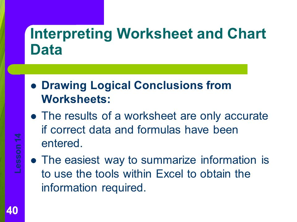 Interpreting Worksheet and Chart Data