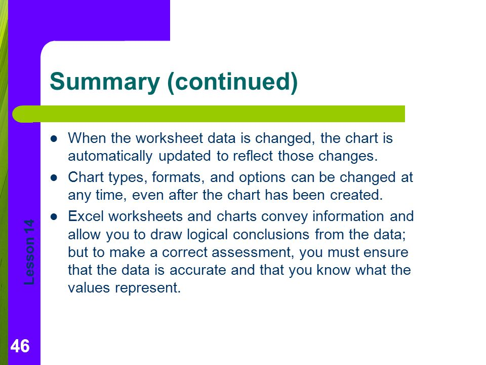 Summary (continued) When the worksheet data is changed, the chart is automatically updated to reflect those changes.