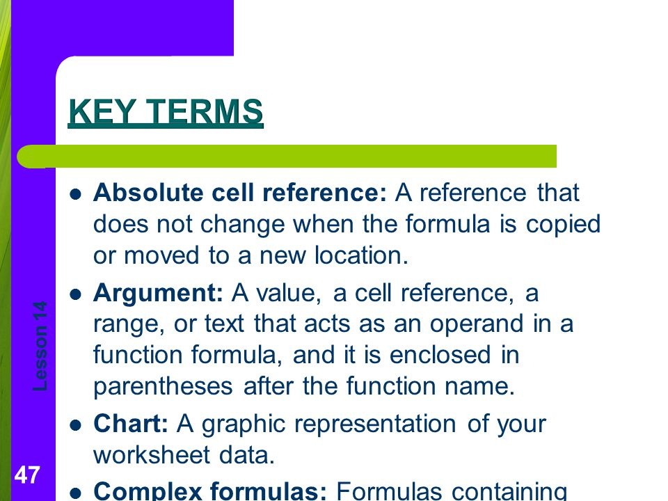 Key Terms Absolute cell reference: A reference that does not change when the formula is copied or moved to a new location.