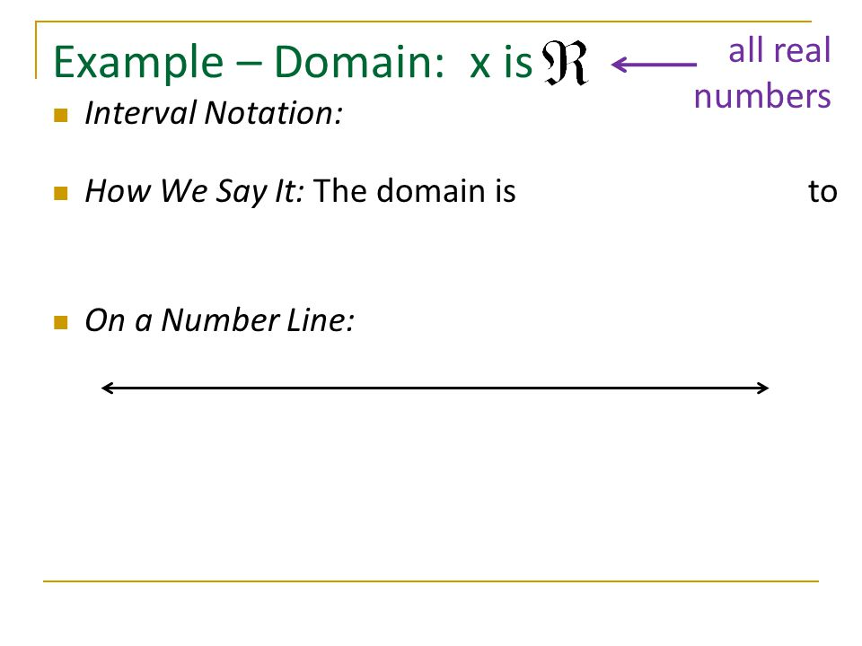 Example – Domain: x is all real numbers Interval Notation: