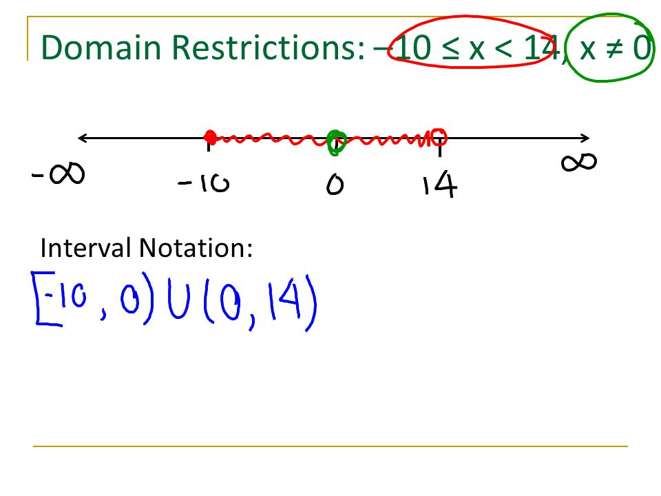 Domain Restrictions: –10 ≤ x < 14, x ≠ 0