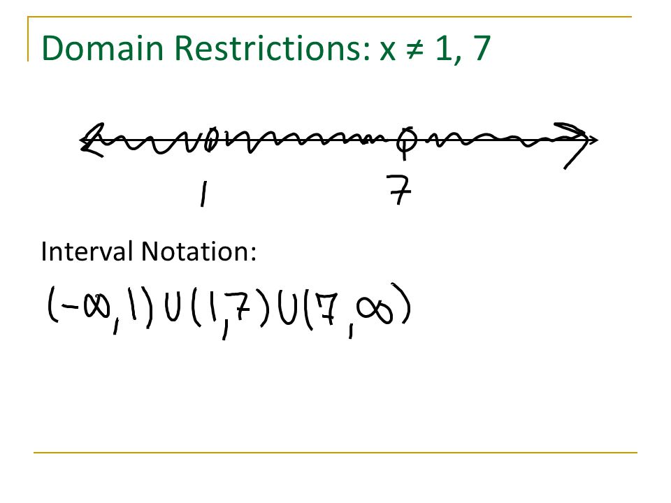 Domain Restrictions: x ≠ 1, 7