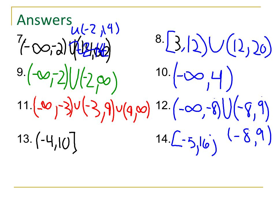 Answers 7. 8. 9. 10. 11. 12. 13. 14.