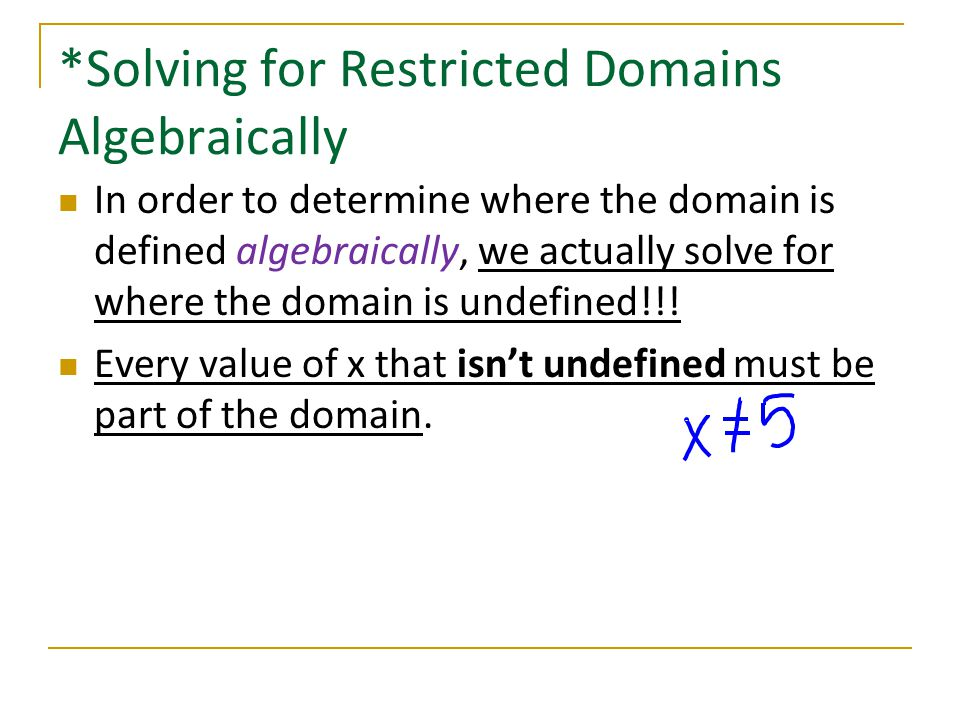 *Solving for Restricted Domains Algebraically