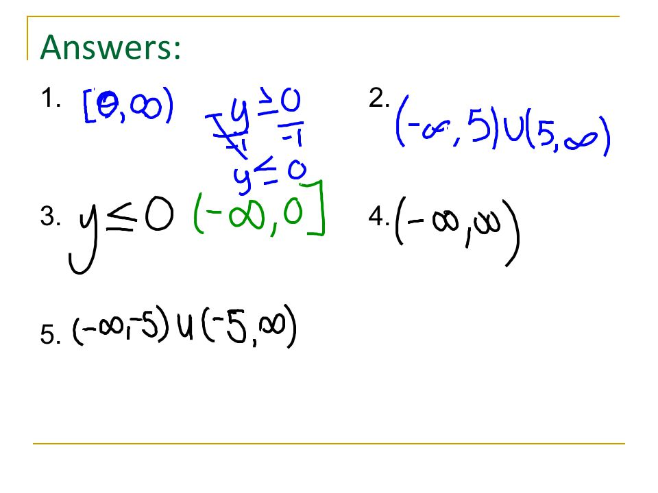 Answers: 1. 2. 3. 4. 5.