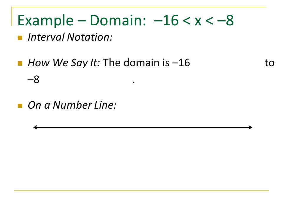 Example – Domain: –16 < x < –8
