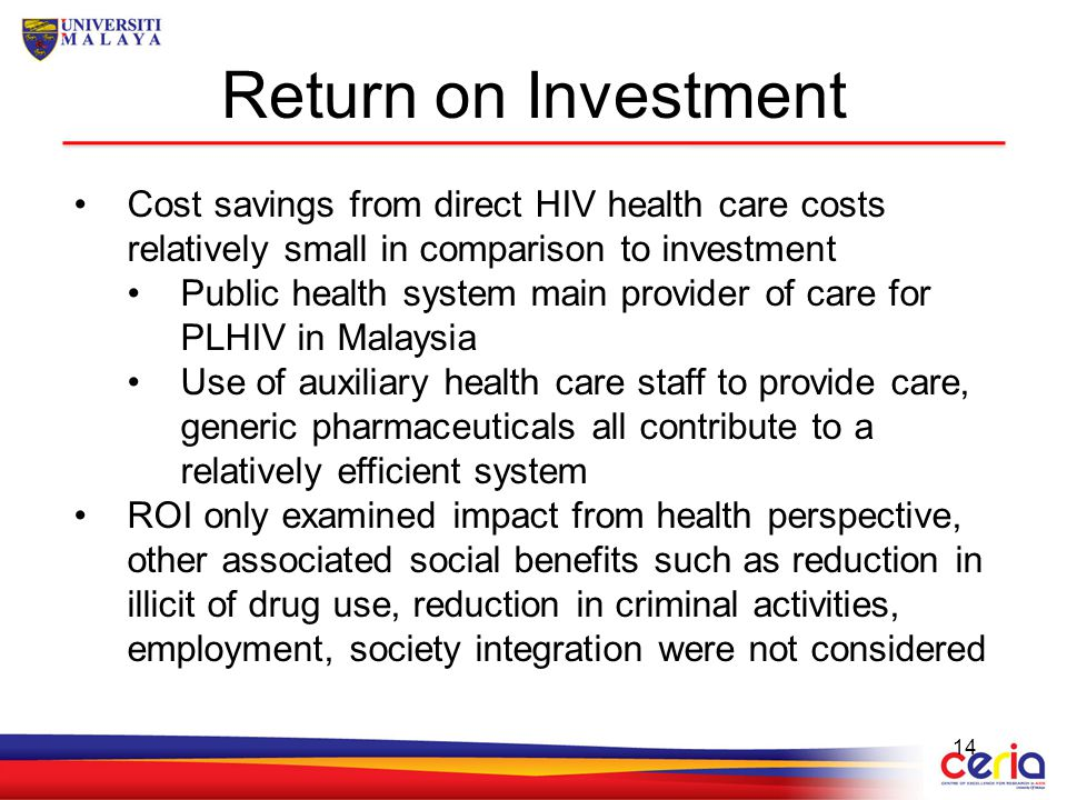 Return on Investment Cost savings from direct HIV health care costs relatively small in comparison to investment.