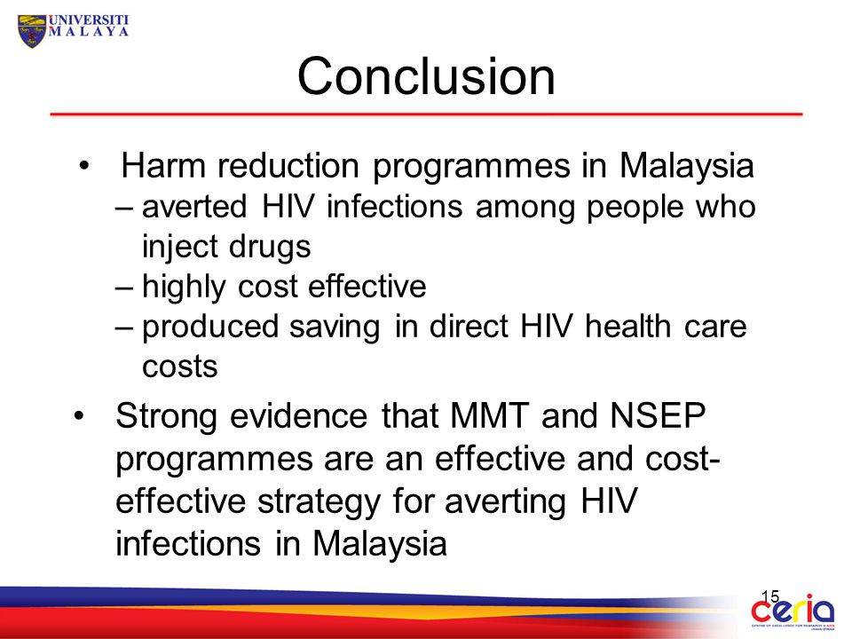 Conclusion Harm reduction programmes in Malaysia