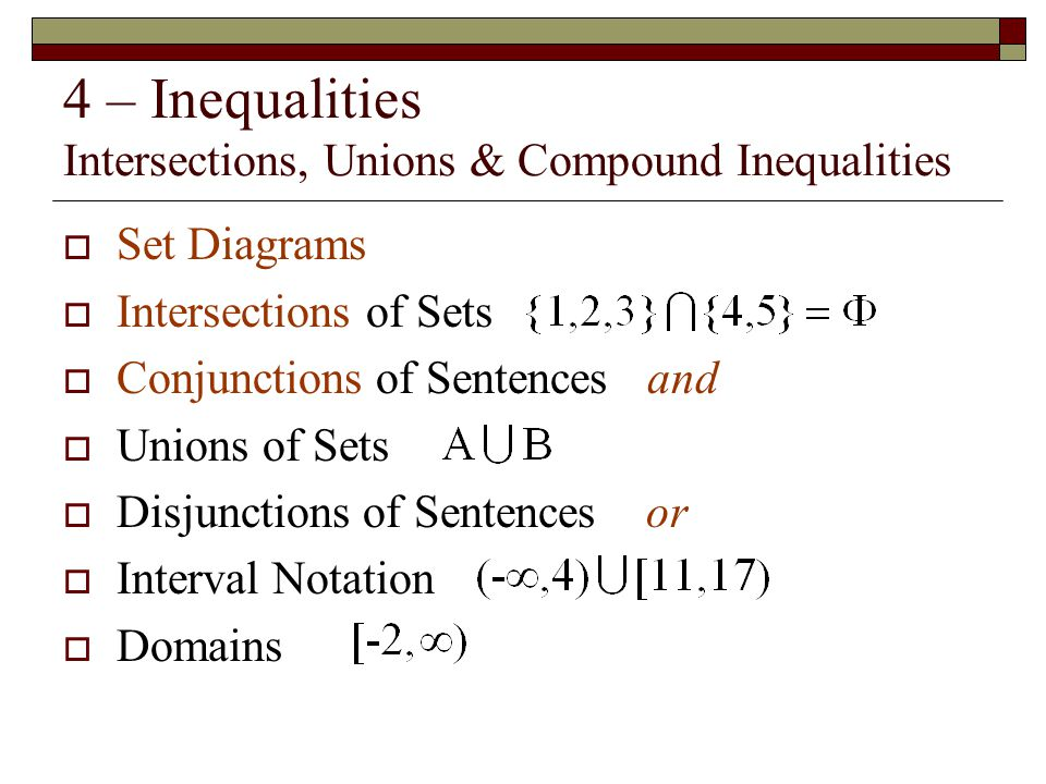 4 – Inequalities Intersections, Unions & Compound Inequalities
