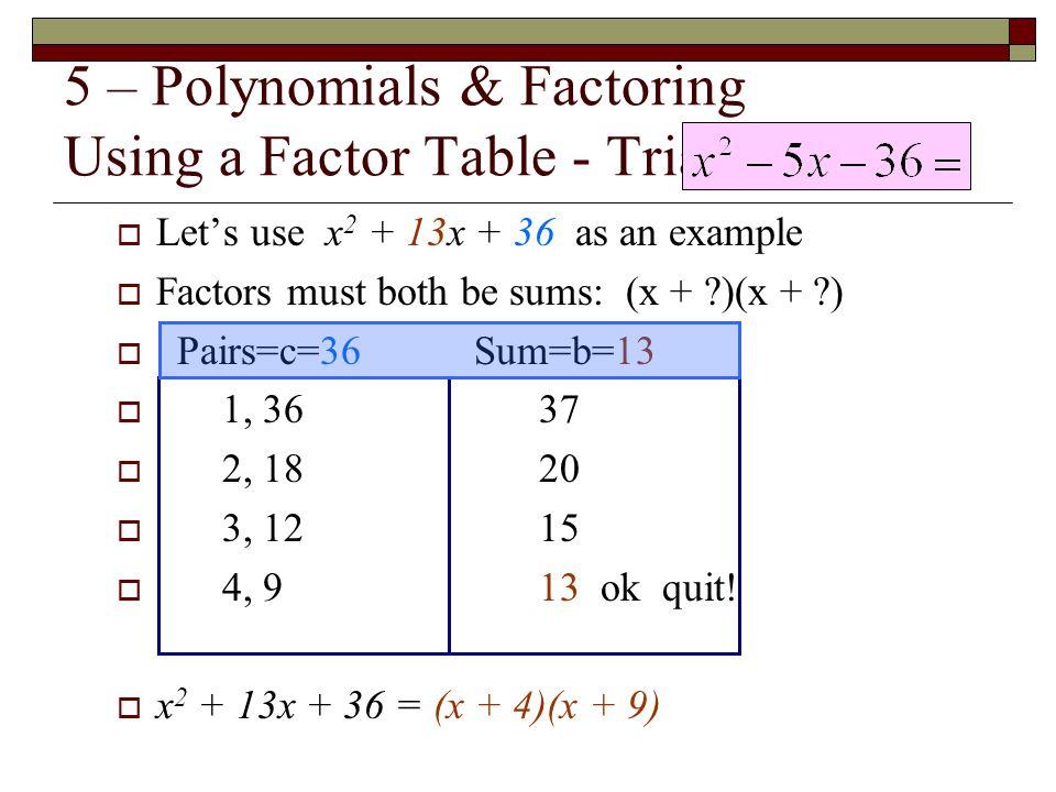5 – Polynomials & Factoring Using a Factor Table - Trial & Error