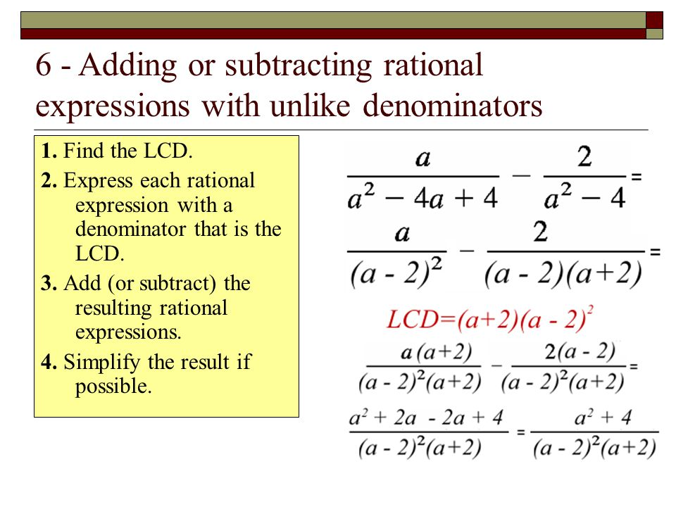 6 - Adding or subtracting rational expressions with unlike denominators