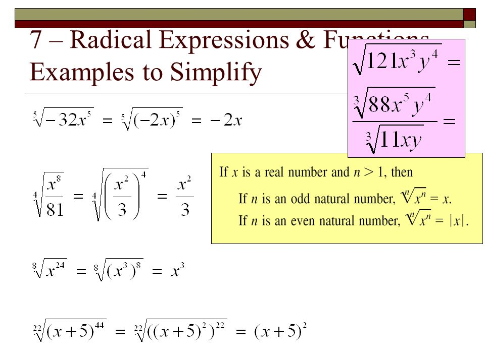7 – Radical Expressions & Functions Examples to Simplify