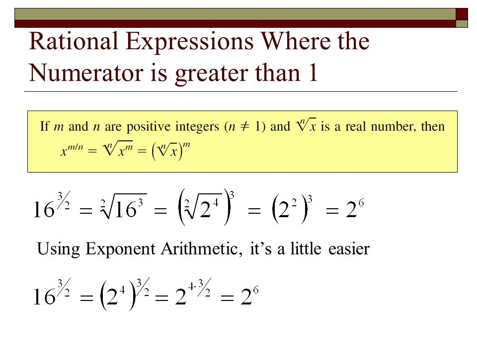 Rational Expressions Where the Numerator is greater than 1