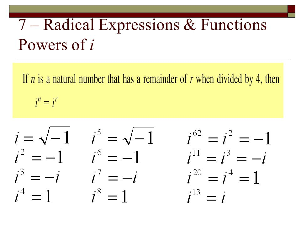 7 – Radical Expressions & Functions Powers of i
