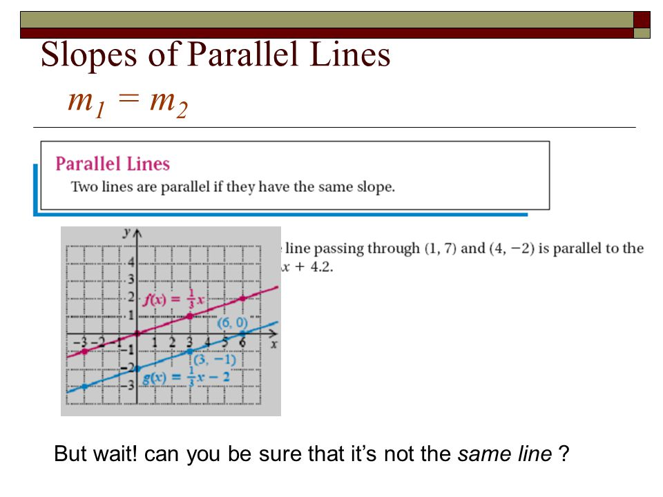 Slopes of Parallel Lines m1 = m2