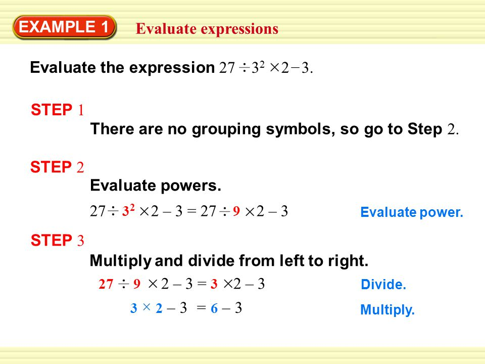 Evaluate the expression 27 32 2 3. –