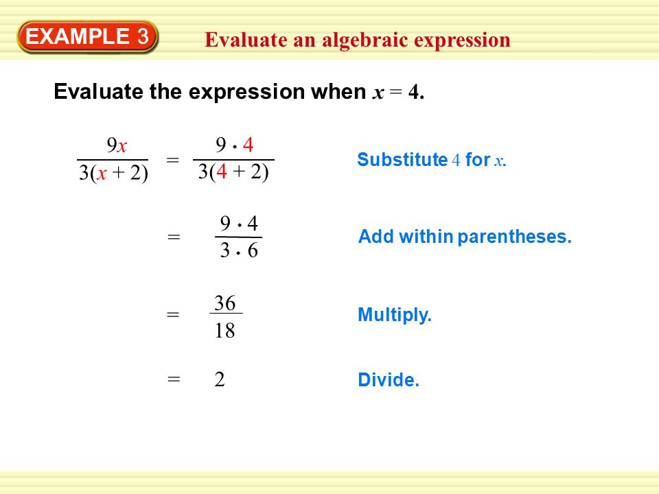 Evaluate an algebraic expression