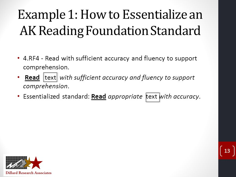 Example 1: How to Essentialize an AK Reading Foundation Standard