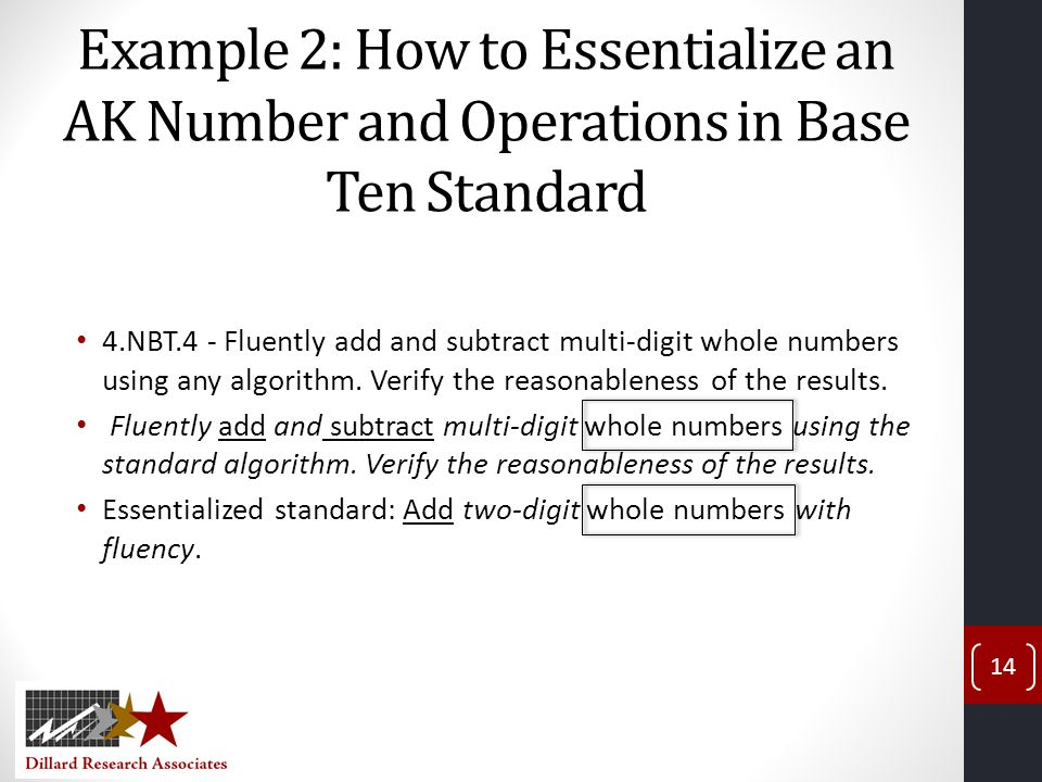 Example 2: How to Essentialize an AK Number and Operations in Base Ten Standard