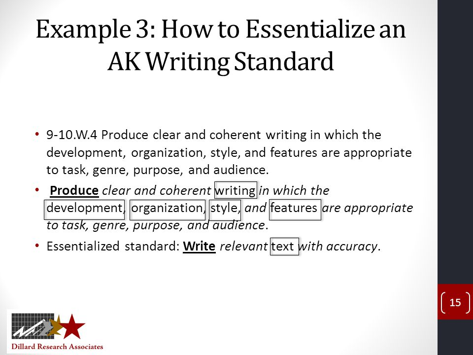 Example 3: How to Essentialize an AK Writing Standard