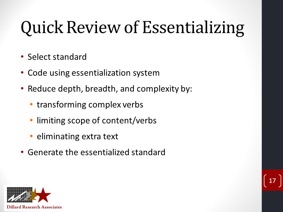Quick Review of Essentializing