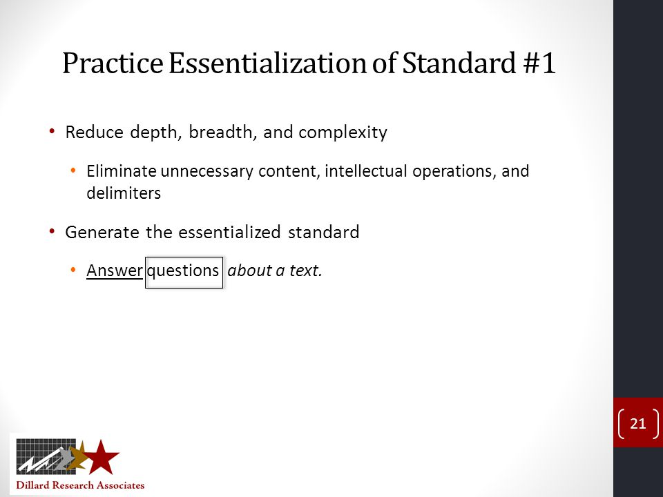 Practice Essentialization of Standard #1