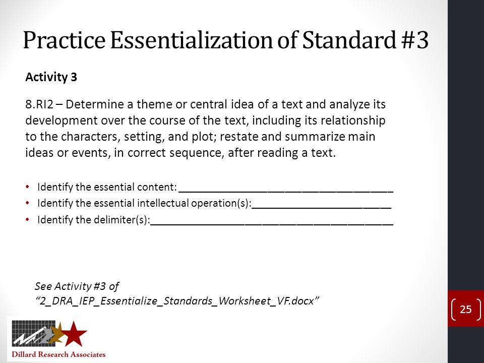 Practice Essentialization of Standard #3