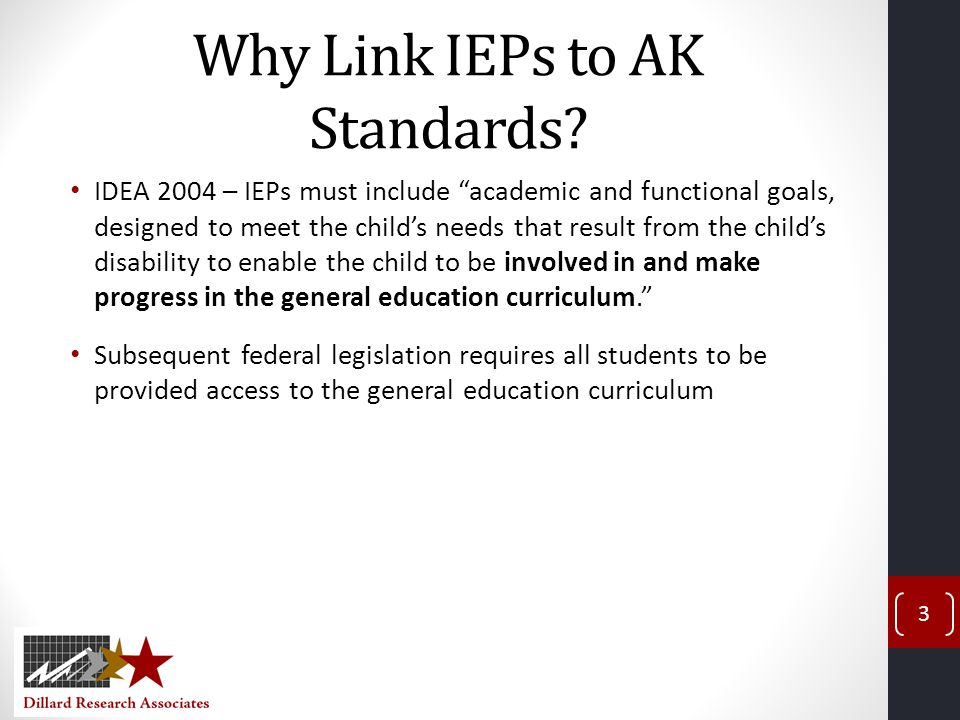 Why Link IEPs to AK Standards