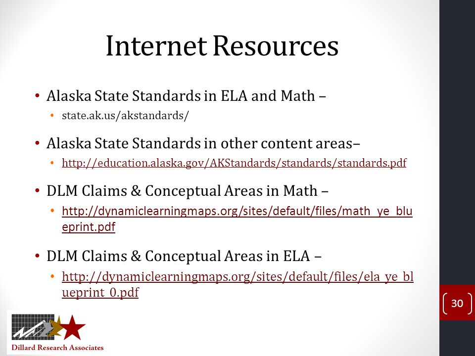 Internet Resources Alaska State Standards in ELA and Math –