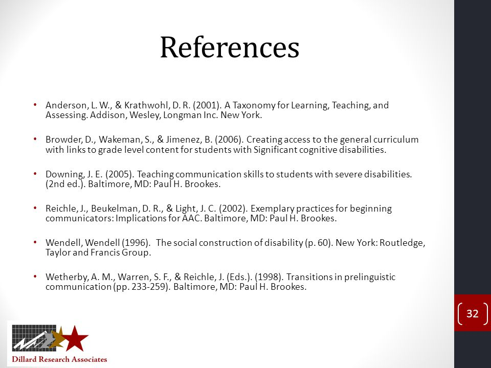 References Anderson, L. W., & Krathwohl, D. R. (2001). A Taxonomy for Learning, Teaching, and Assessing. Addison, Wesley, Longman Inc. New York.