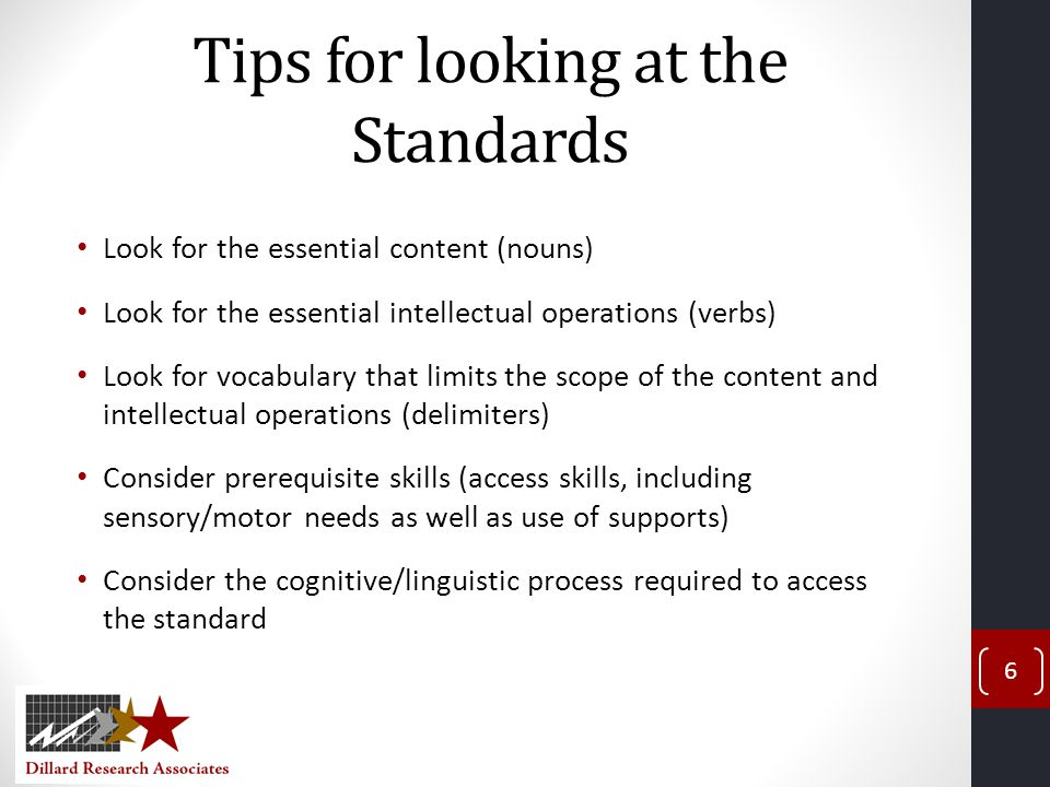 Tips for looking at the Standards
