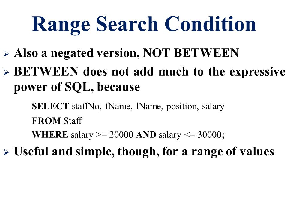 Range Search Condition