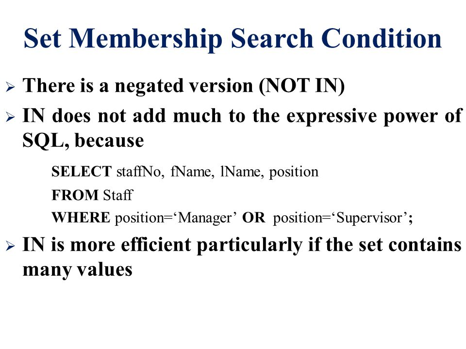Set Membership Search Condition