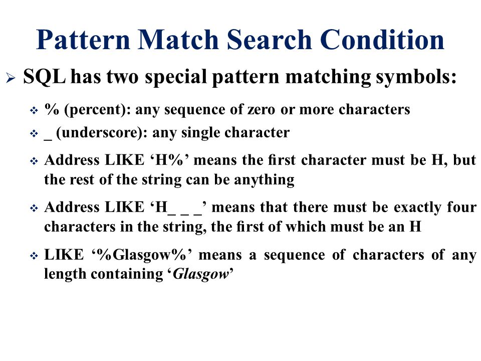 Pattern Match Search Condition