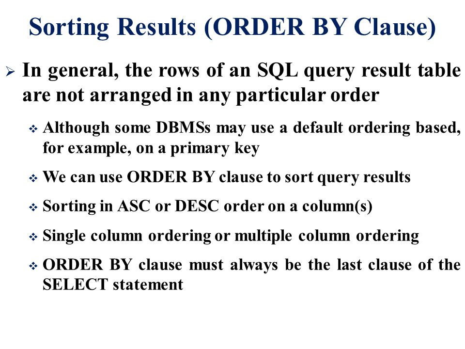 Sorting Results (ORDER BY Clause)