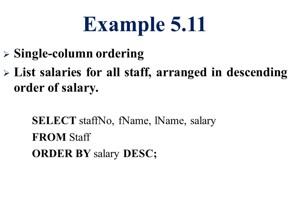 Example 5.11 Single-column ordering