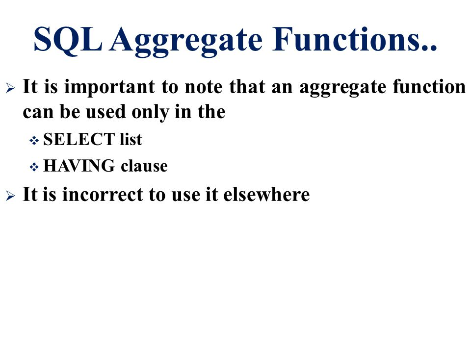 SQL Aggregate Functions..