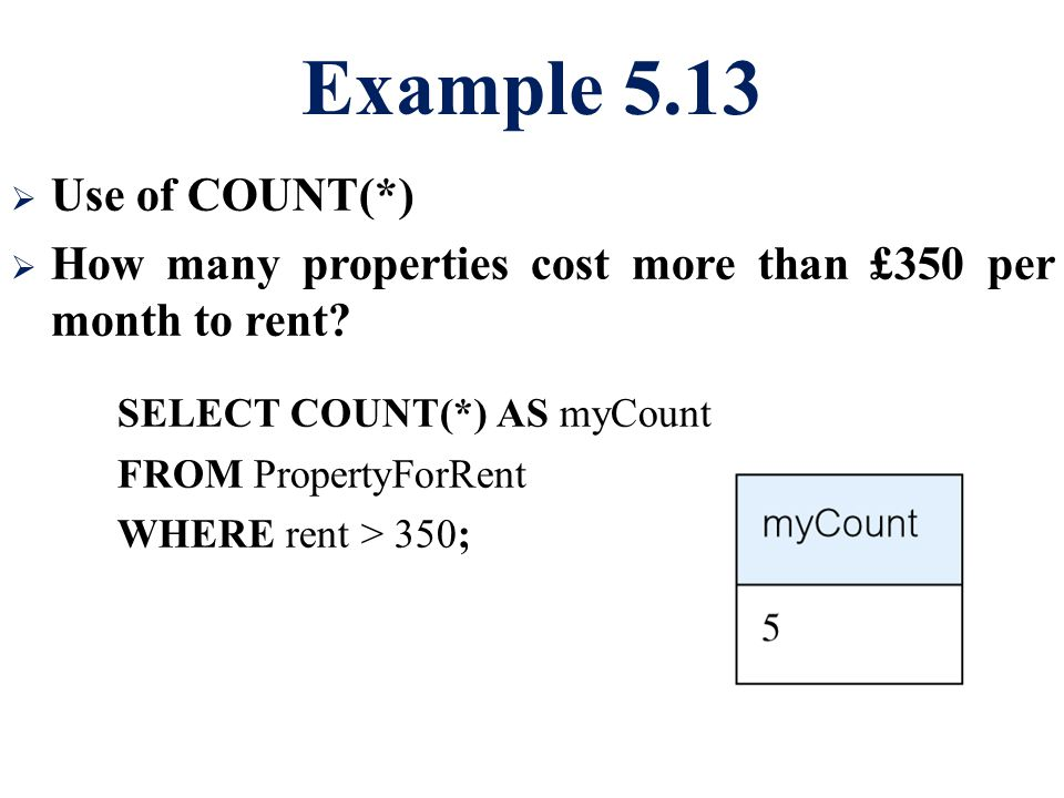 Example 5.13 Use of COUNT(*)