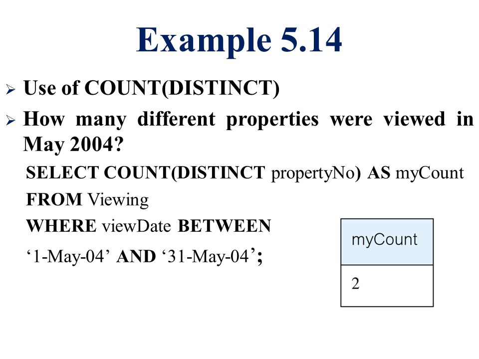 Example 5.14 Use of COUNT(DISTINCT)