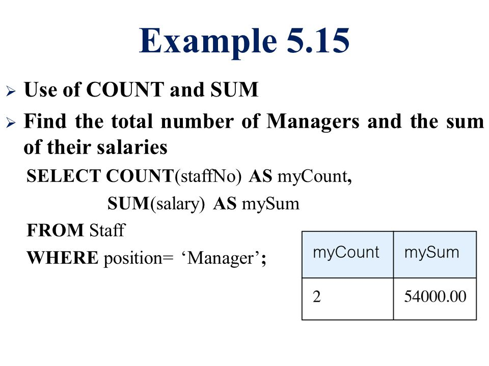 Example 5.15 Use of COUNT and SUM