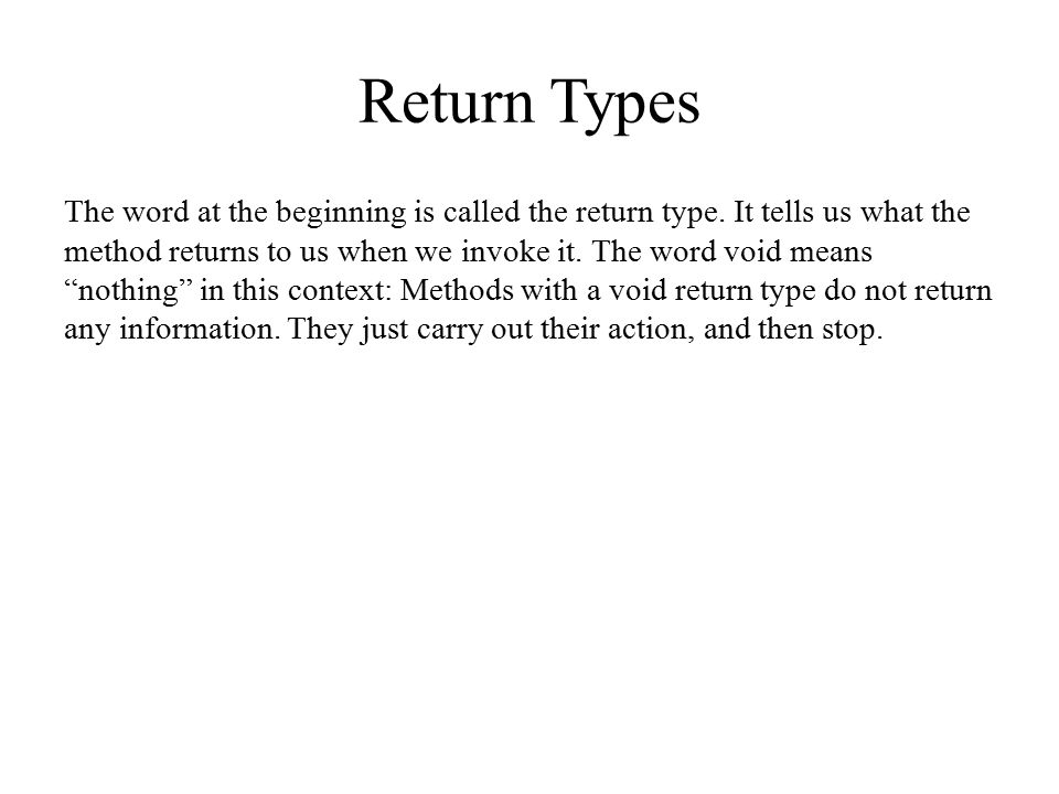 Return Types