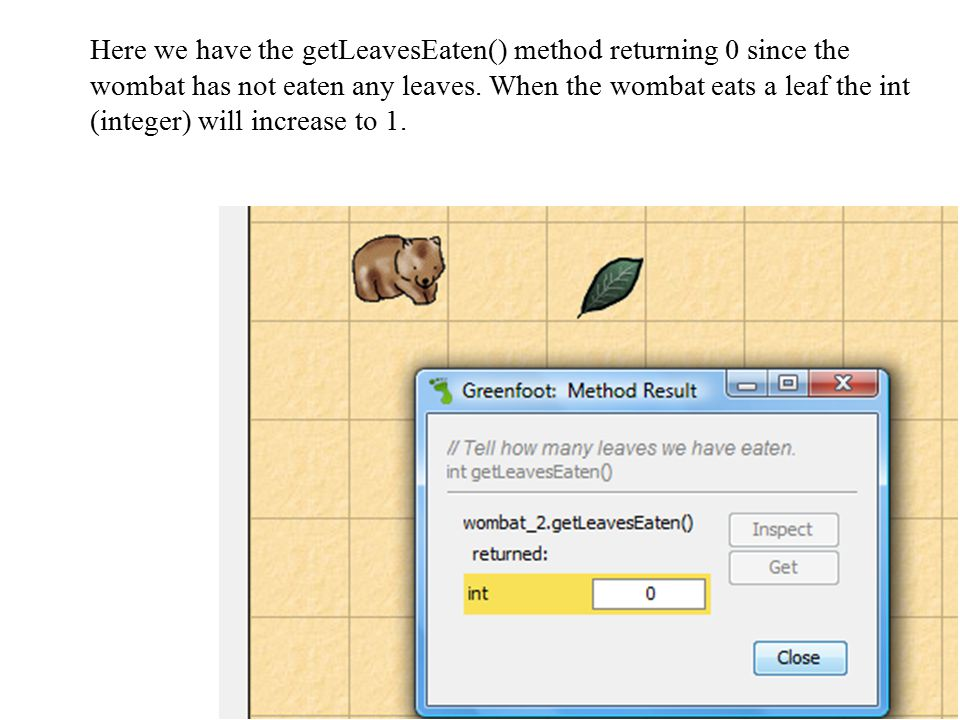 Here we have the getLeavesEaten() method returning 0 since the wombat has not eaten any leaves.