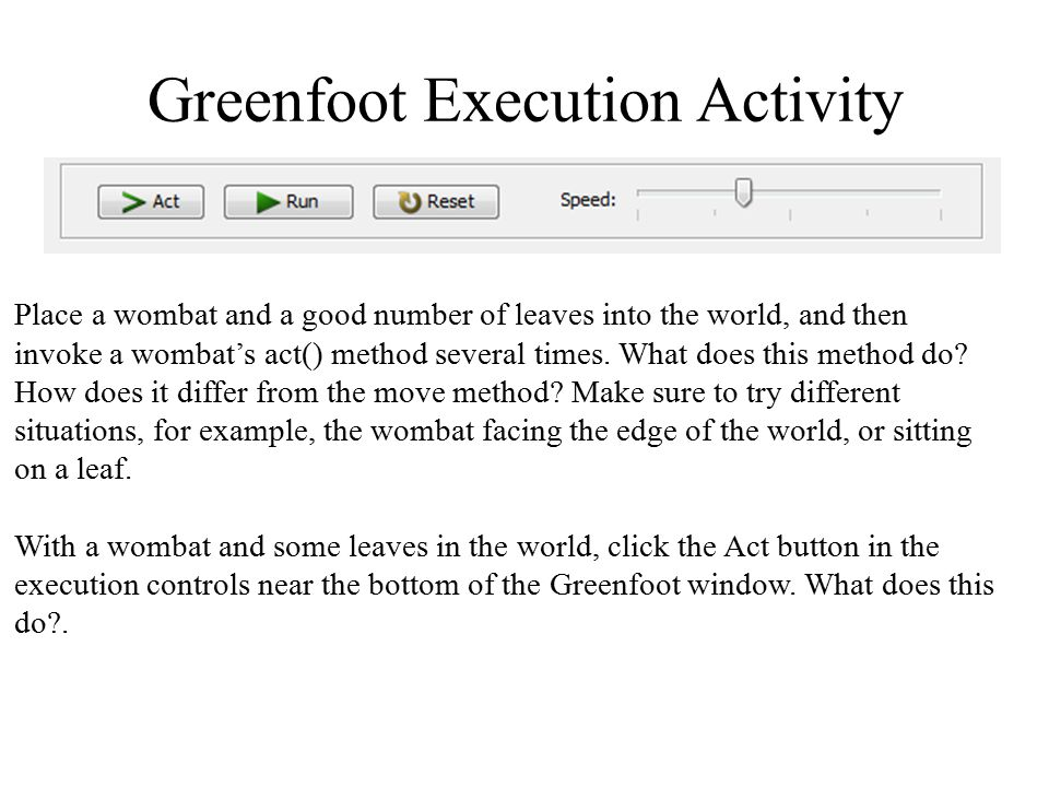 Greenfoot Execution Activity