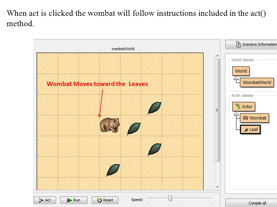 When act is clicked the wombat will follow instructions included in the act() method.