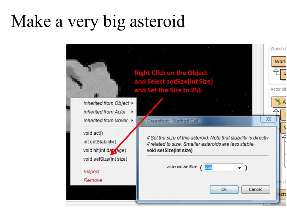 Make a very big asteroid