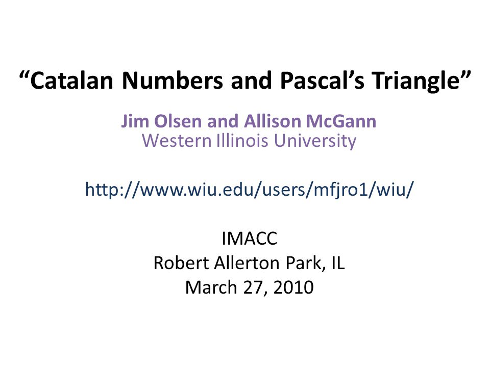 Catalan Numbers and Pascal's Triangle