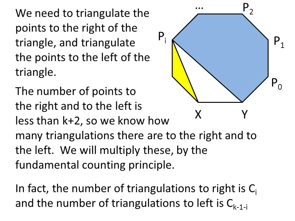 … P2. We need to triangulate the points to the right of the triangle, and triangulate the points to the left of the triangle.