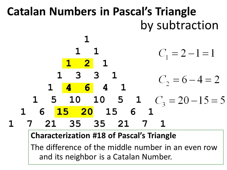 Catalan Numbers in Pascal's Triangle