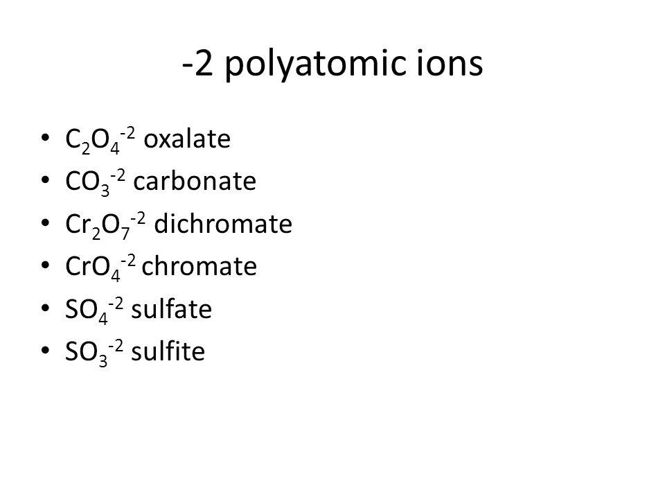 -2 polyatomic ions C2O4-2 oxalate CO3-2 carbonate Cr2O7-2 dichromate