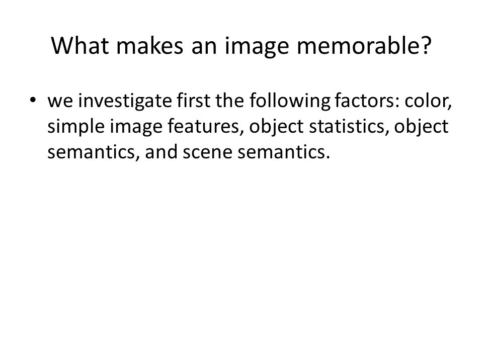 What makes an image memorable